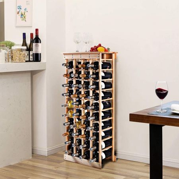 Costway Estante de Vino para 44 Botellas Botellero de Madera Pino Sostenedor de Vino