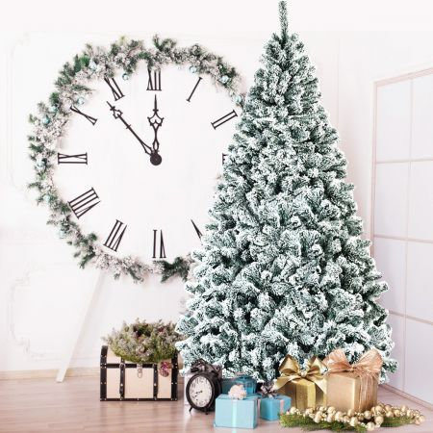 Costway 2,25m Árbol de Navidad Nevado No Iluminado con Bisagras y Base de Metal Decoración para Casa Oficina