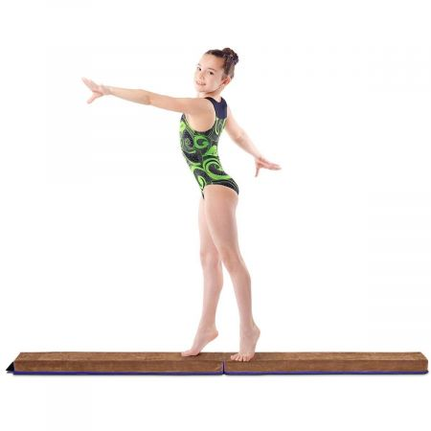 Costway Barra de Equilibrio Haz de gimnasio plegable Balance de entrenamiento hogar 240x10 / 15x6cm Azul