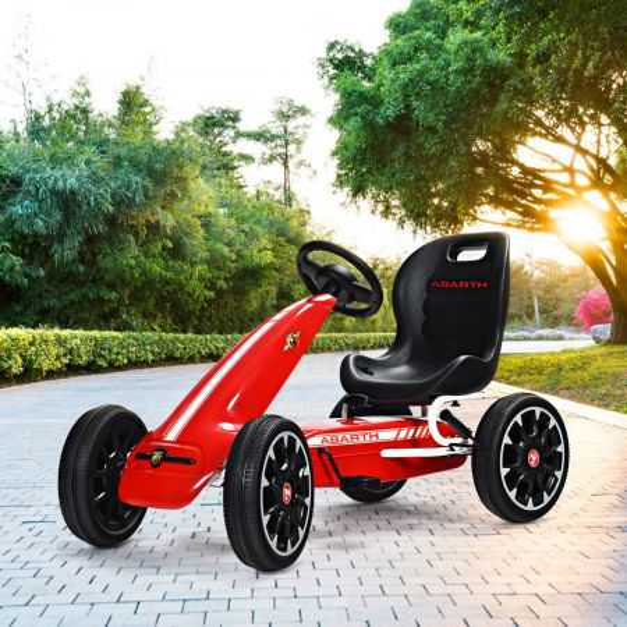 Costway Go Kart para Niños de Pedales con Asiento Envolvente Freno de Mano Seguro para Niños 3-8 Años Rojo 114,5 x 54,5 x 70 cm