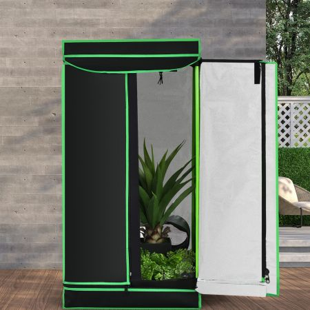 Costway Armarios de Cultivo Tienda de Plantas para Crecer Plantas Invernadero Puerta con Cremallera Negro 60 x 60 x 120 cm