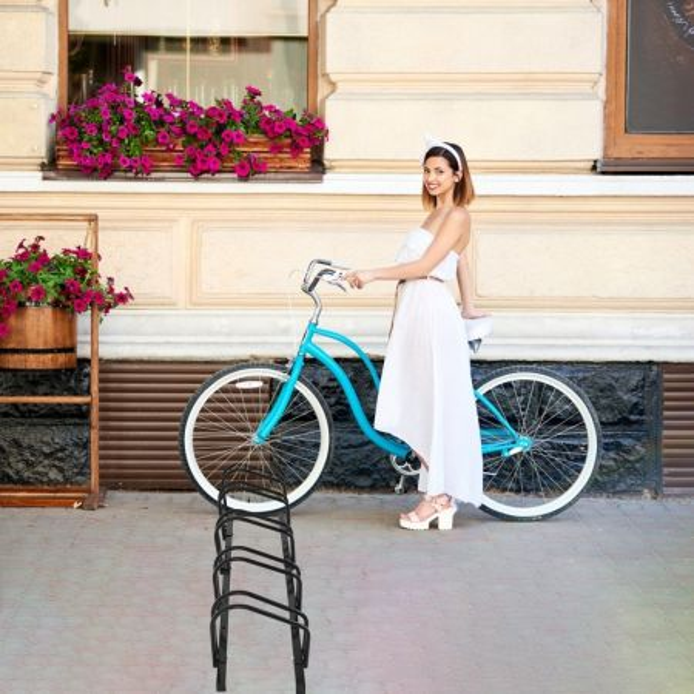 Costway Aparcabici para 5 Bicicletas Portabicicletas para Bici Soporte para Bici para Casa Jardín Garaje Parque 150 x 32,5 x 26 cm Negro