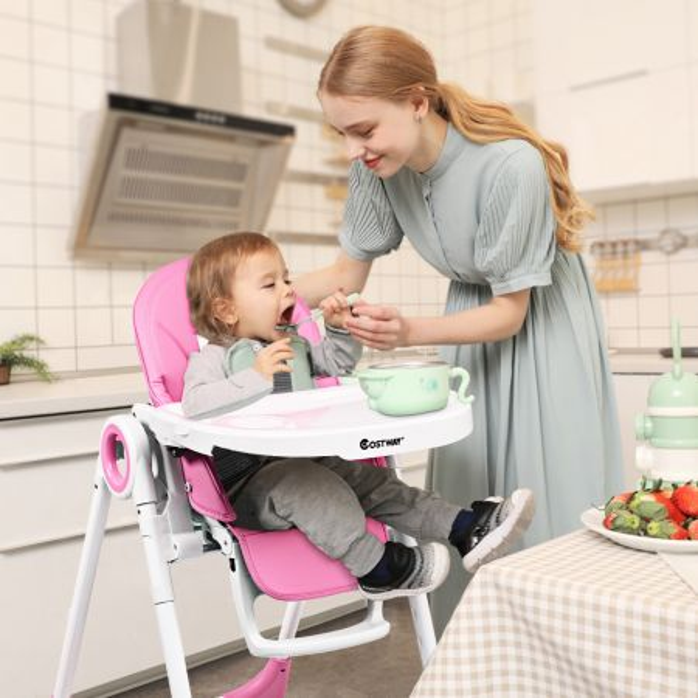 Costway 2 en 1 Trona para Bebé con Bandeja para Comer Altura Ajustable Cinturón de Seguridad de 5 Puntos Rosa