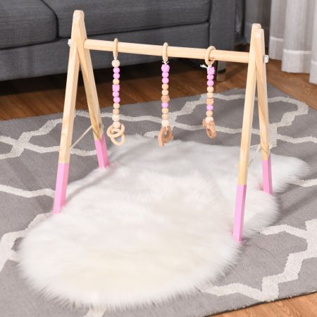 Costway Gimnasio para Bebés Gimnasio con Juguetes para Dentición Desarrollo Cerebral Estimulación Sensorial Gimnasio Plegable de Madera para Niños + 3 meses Rosa 66 x 40 x 60 cm