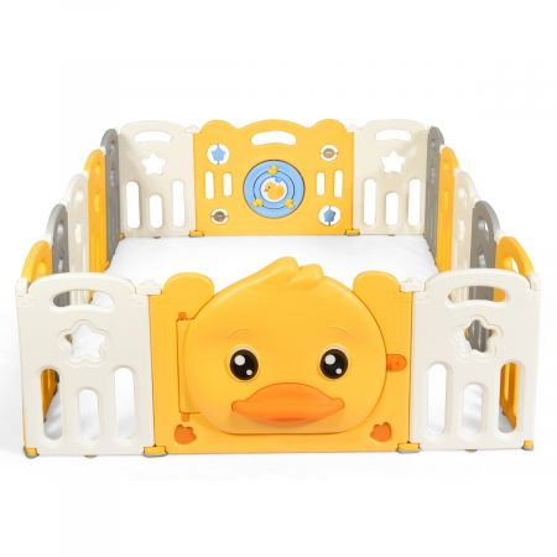 Costway Parque Plegable para Niños con Diseño de Pato Amarillo Almohadillas Antideslizantes y Ventosas Amarillo 160 x 207 x 67,5 cm