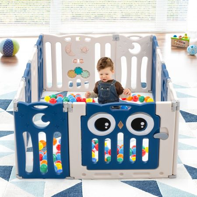 Costway Parque Plegable para Niños y Bebés con Forma Regulable en HDPE con Cierre de Seguridad y Juguetes Educativos Azul 148 x 110 x 64 cm