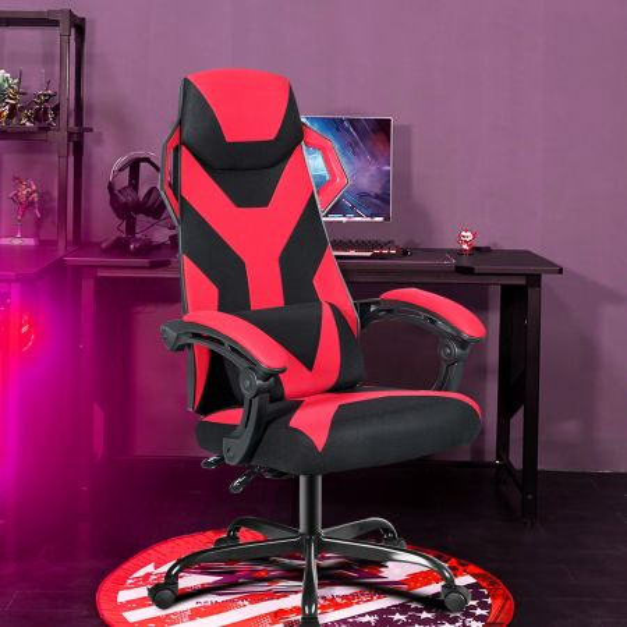 Costway Silla de Videojuegos Silla Reclinable para Ordenador con Respaldo Alto Regulable con Soporte Lumbar Asiento Acolchado Rojo