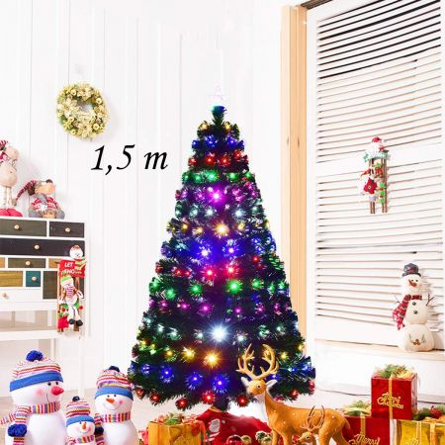 Costway 1,5m Árbol de Navidad Artificial con Luces Abeto Plástico Decorativo Hogar Fiesta