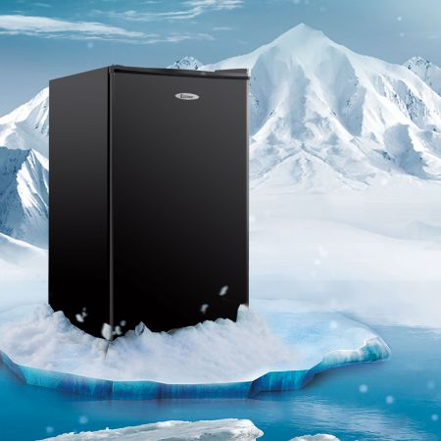 Costway 91L Refrigerador combi con 3 estantes de vidrio ajustables nevera 49x45x84cm negro