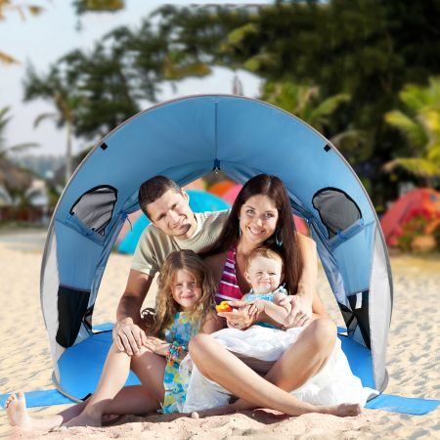 Costway Carpa de Playa Pop Up Tienda de Campaña Cabaña Automática Plegable UPF 50+ para Actividades de Exterior Azul 220 x 159 x 115 cm