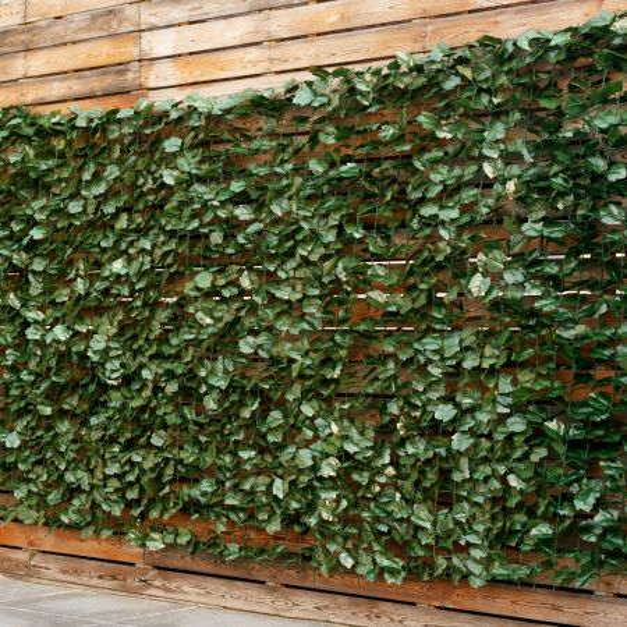 Costway Seto Artificial con Hojas de Hiedra para Decoración de Jardín Casamiento Interior y Exterior Verde 150 x 300 cm