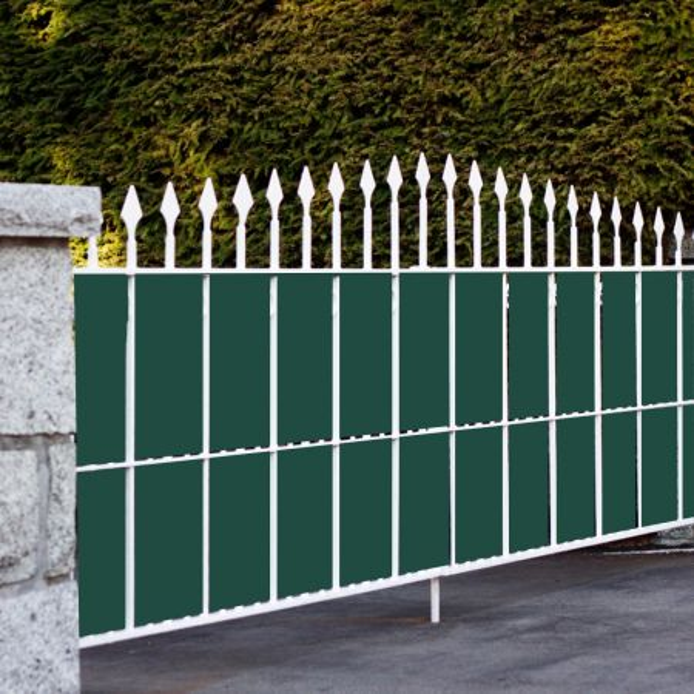 Costway 4,65 kg Revestimiento para Valla en PVC 35 m x 19 cm con 20 clips  para Proteger de Ruido Viento y Privacidad Verde