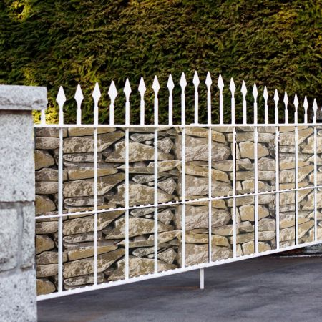 Costway Revestimiento para Valla en PVC 50 m x 19 cm con 26 Clips para Proteger de Ruido Viento y Privacidad  Piedra