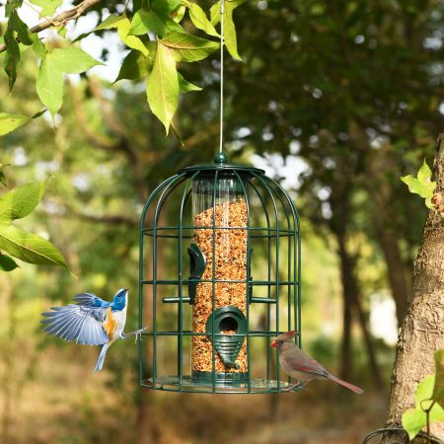 Costway Comedero de Pájaros a Prueba de Ardilla con 4 Aperturas 2 Posaderos en ABS y Figura de Metal Verde 17,5 x 17,5 x 26 cm