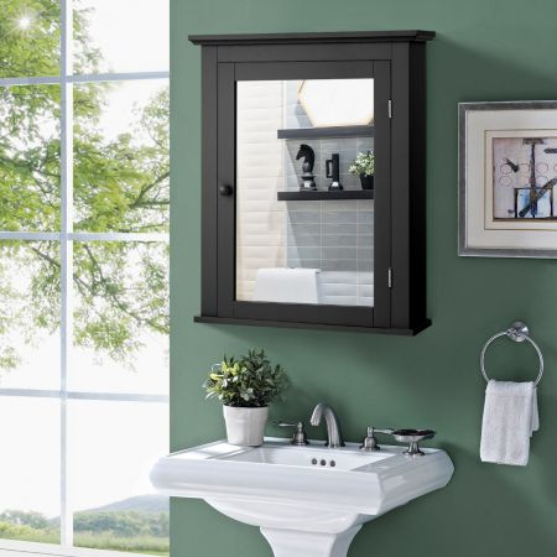 Costway Armario de Baño con Espejo de Pared Mueble de Baño Organizador con Puerta y Estante Ajustable Gabinete de Almacenamiento para Dormitorio Negro 56 x 14,5 x 69 cm