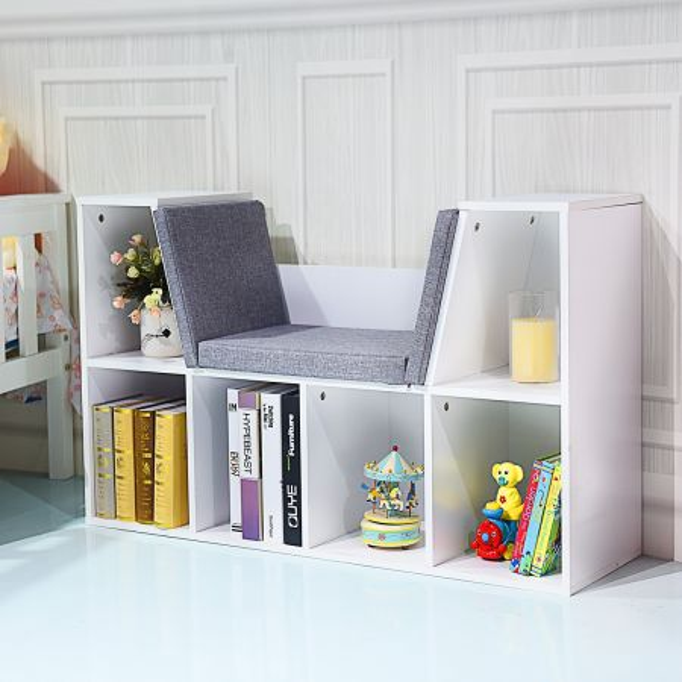 Costway Librería Estantería para Libros con Asiento Biblioteca Mueble Infantil en Hogar 102,5 x 30 x 63,5 cm