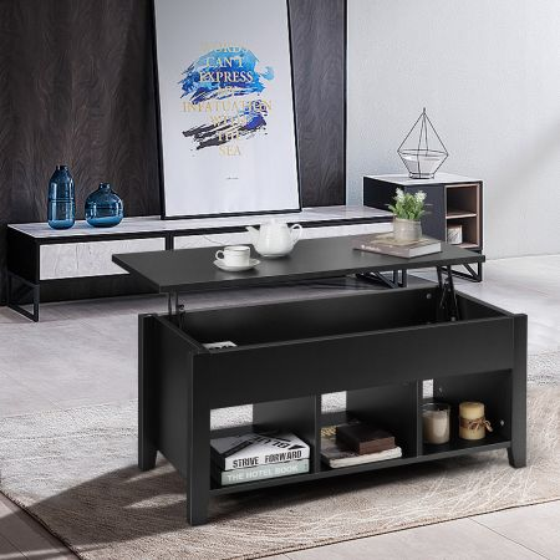 Costway Mesa Baja con Tapa Elevable Mesa de Centro con Altura Regulable Compartimientos Escondidos Mesa de Café para Salón Negro 104,5 x 49,5 x 48,5 cm