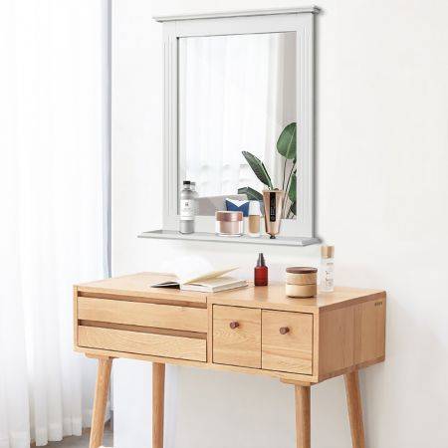 Costway Espejo de Baño con Estante Adicional Espejo de Pared para Baño Lavabo Dormitorio 57 x 12 x 68,5 cm
