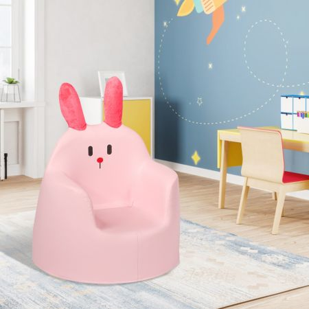 Costway Sofá  Bonito con Conejo de Alta Calidad y Espuma Blanda para Niños 9 Meses – 3 Años Rosa 46 x 49 x 57 cm