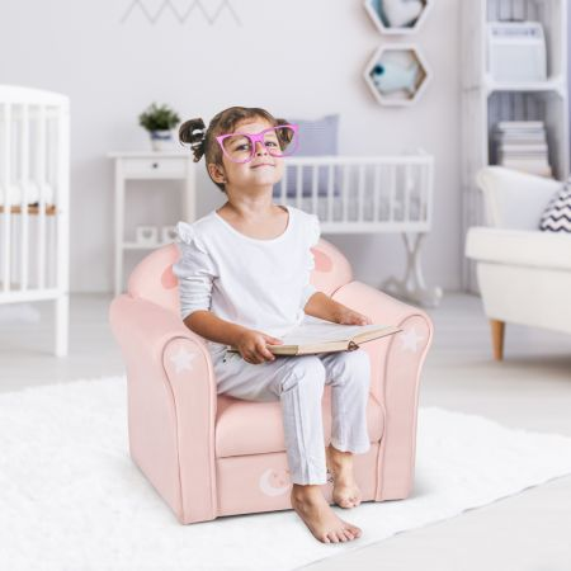 Costway Sofá para Niños Sillón Infantil con Dibujo Cordero Terciopelo Blandísimo Respaldo Cómodo para Dormitorio Salón Rosa 51 x 37 x 43 cm