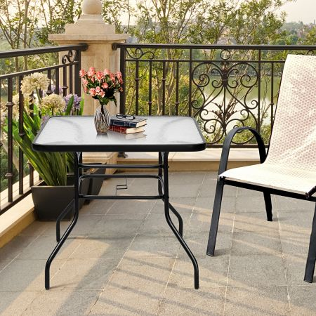 Costway Mesa para Patio Mesa Baja de Té Rectangular con Hoyo para Sombrilla en Metal y Vidrio para Jardín Balcón Negro 81 x 81 x 71 cm