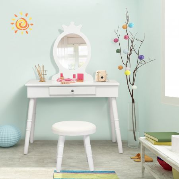 Costway Set Mesa y Silla Tocador para Niños con Espejo y Cajones para Maquillarse Blanco 70 x 34 x 100 cm