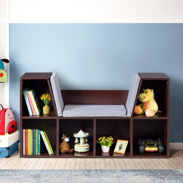 Costway Librería con Cojines y  6 Cubos para Leer Organizar para Niños y Chicos Marrón 103 x 30 x 63 cm