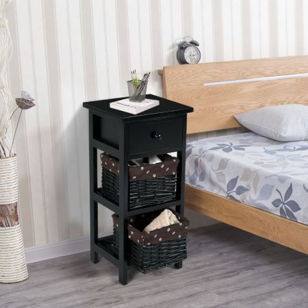 Costway Mesita Moderna con 1 Cajón y 2 Cajas Organizador para Casa Salón Dormitorio Negro 28 x 26 x 60 cm