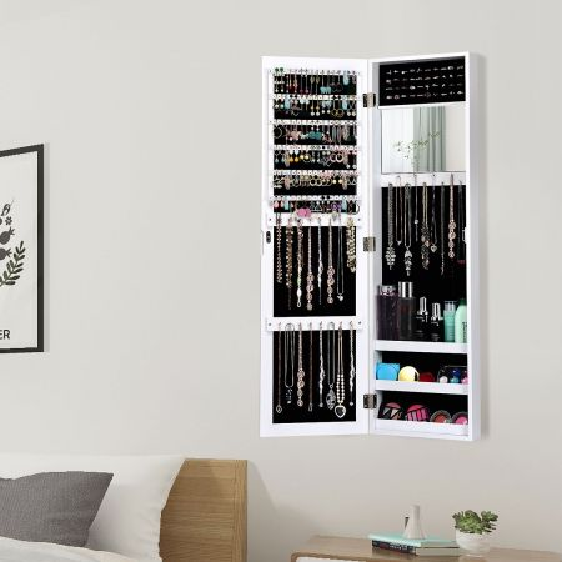 Costway Armario de Joyas con Espejo Joyero Colgante en Puerta Pared Salva Espacio Blanco 31,5 x 8,5 x 110 cm