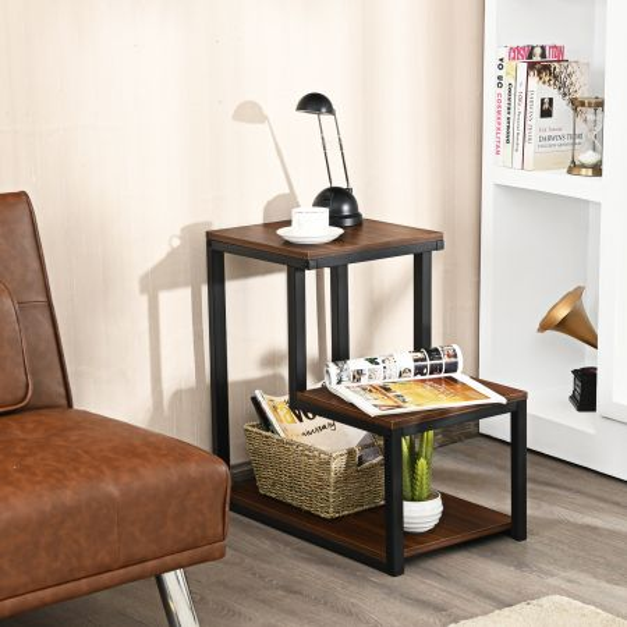 Costway Mesita Auxiliar Industrial con 3 Niveles y Estructura en Acero Resistente Ideal para Salón y Oficina Café 60 x 35 x 59,5cm