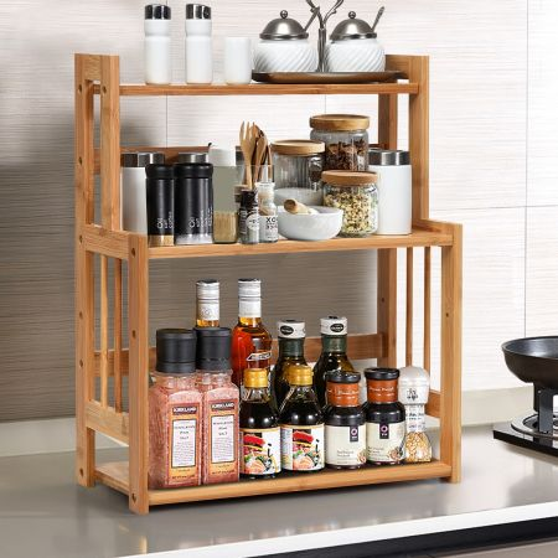 Costway Especiero en Bambú con 3 Niveles Repisas Abiertas y Superficie Impermeable para Cocina Baño y Dormitorio 41,5 x 18 x 50 cm