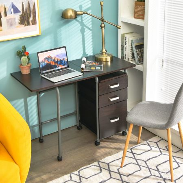 Costway Escritorio Plegable de Madera Mesa de Ordenador con 3 Cajones Removibles y Ruedas Bloqueables para Dormitorio Casa Oficina 105,5 x 50,5 x 74 cm Marrón