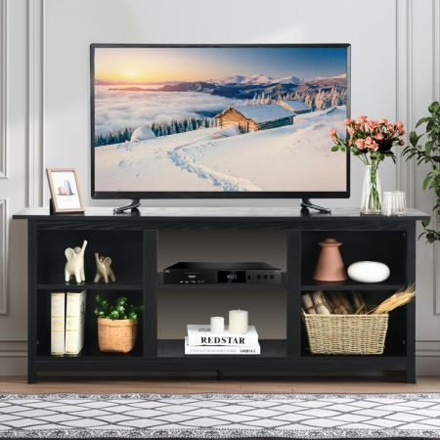 Costway Mueble para TV con 2 Niveles Soporte de Televisión Centro Diversión para TV hasta 165 cm y Chimenea Eléctrica 147 x 40 x 60 cm Negro