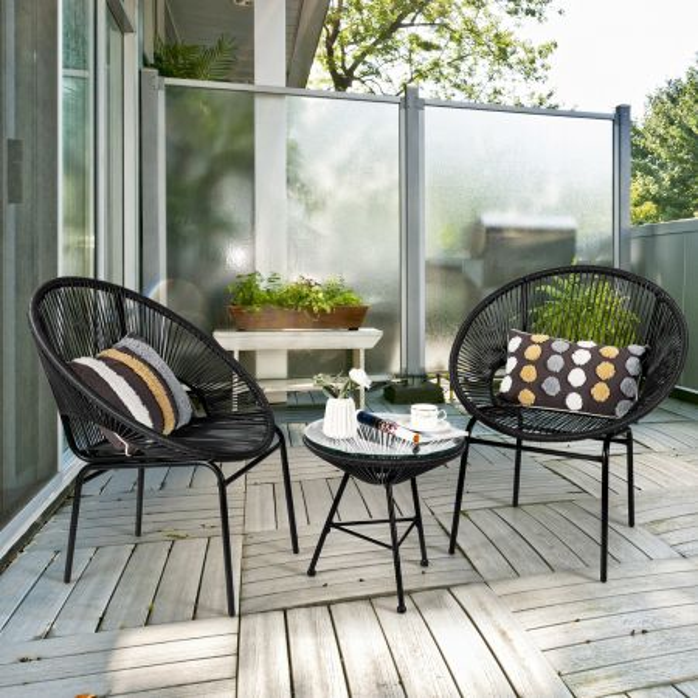 Costway Set 3 Muebles de Ratán PE para Patio Set Bistró de Exterior Set de 2 Sillas y Mesa en Vidrio Templado para Césped Jardín Negro