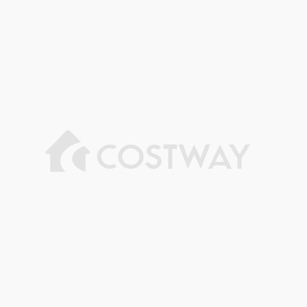 Costway Set 3 Muebles de Ratán PE para Patio Set Bistró de Exterior Set de 2 Sillas y Mesa en Vidrio Templado para Césped Jardín Verde