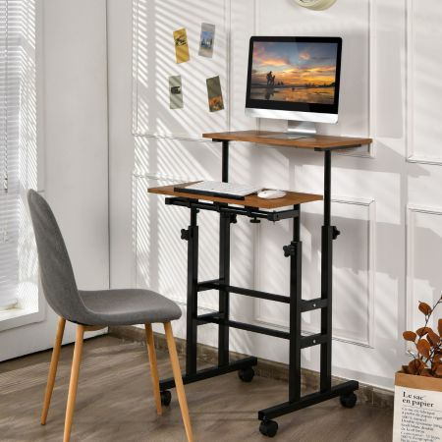 Costway Escritorio Móvil Mesa de Ordenador con Ruedas Regulable en Altura para Estar Sentados y de Pie para Casa Oficina Nuez y Negro