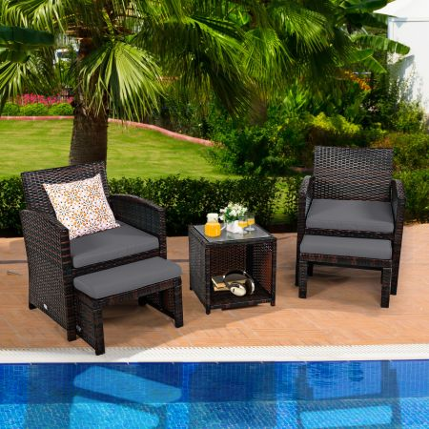 Costway Set de 5 Muebles de Ratán Set Conversación de Exterior con Silla Acolchada Otomana y Mesa Baja para Jardín Patio Piscina Gris