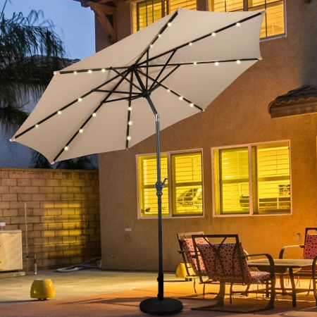 Costway 3M Solar LED Sombrilla de Playa Plegable Quitasol Parasol para Jardín Patio Balcón
