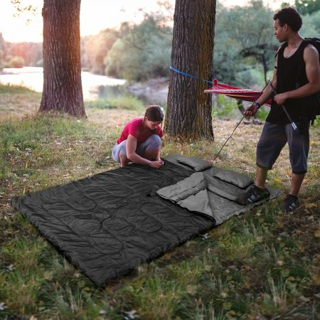 Costway Saco de Dormir Desmontable Impermeable para Camping Saco de Dormir con Almohada para 2 Personas  al Aire Libre