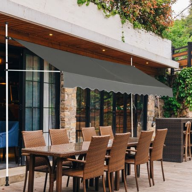 Costway Toldo Telescópico y Retráctil Resistente a los Rayos UV Impermeable con Manivela Manual y Altura Regulable para Ventana Balcón Jardín Gris 395 x 120 cm