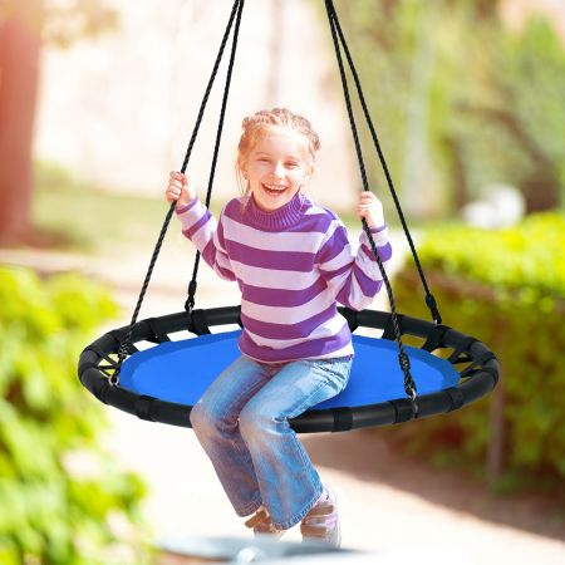 Costway Columpio Redondo 100 cm con Altura Regulable 100-160 cm para Árbol Jardín Parque Infantil y Cuarto de Juegos Azul