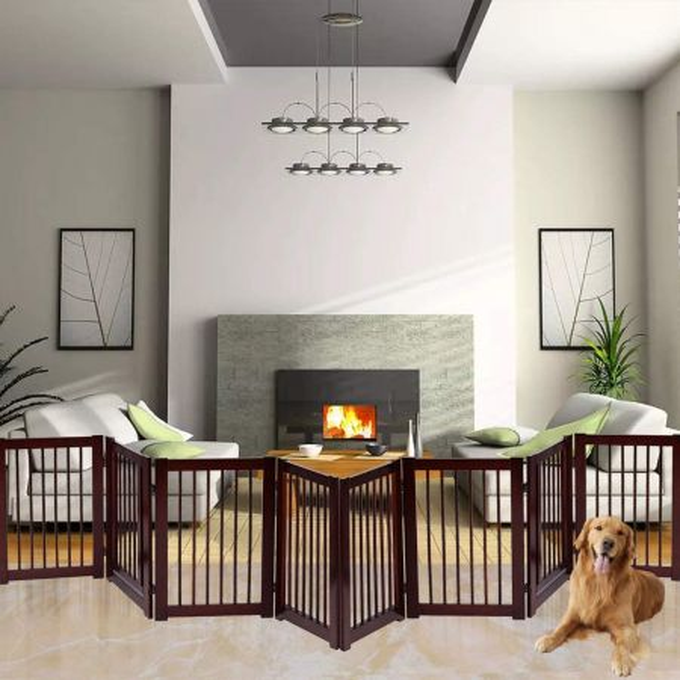 Costway Puerta Plegable para Perro de Madera Barrera de Seguridad para Perro 4 Piezas 203 x 76 x 1,8cm