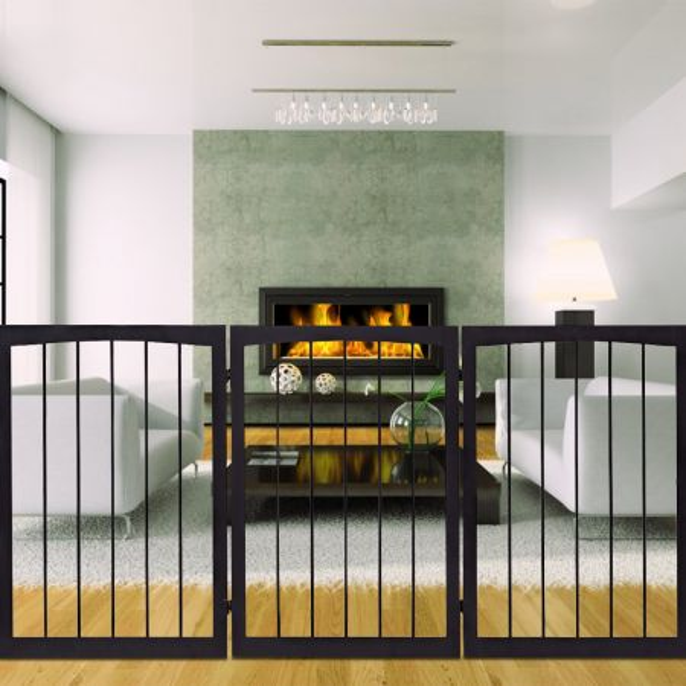 Costway Puerta abatible de madera para perro Barrera de seguridad para animales 160x1,2x76cm