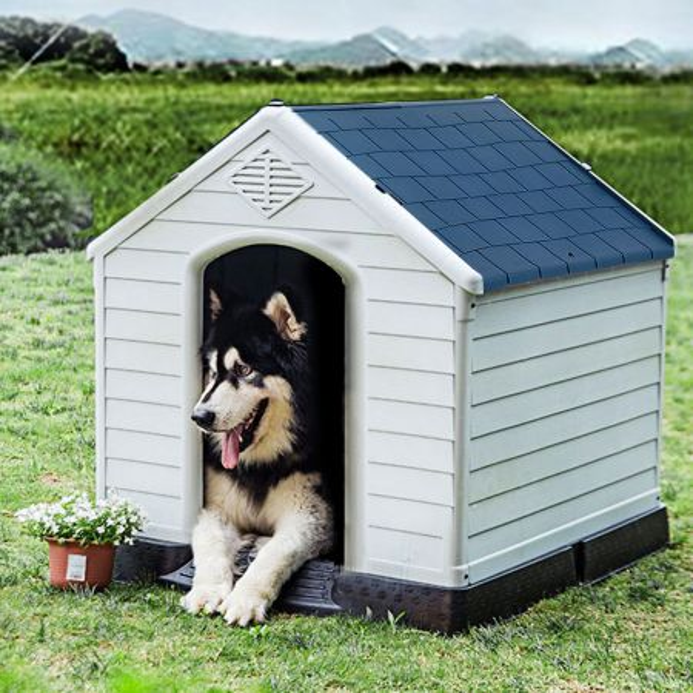 Costway Casa para Perros Impermeable y Ventilada con Válvulas de Aire y Suelo Elevado para Perros de Talla Mediana Blanco y Azul 70 x 65 x 71,5 cm