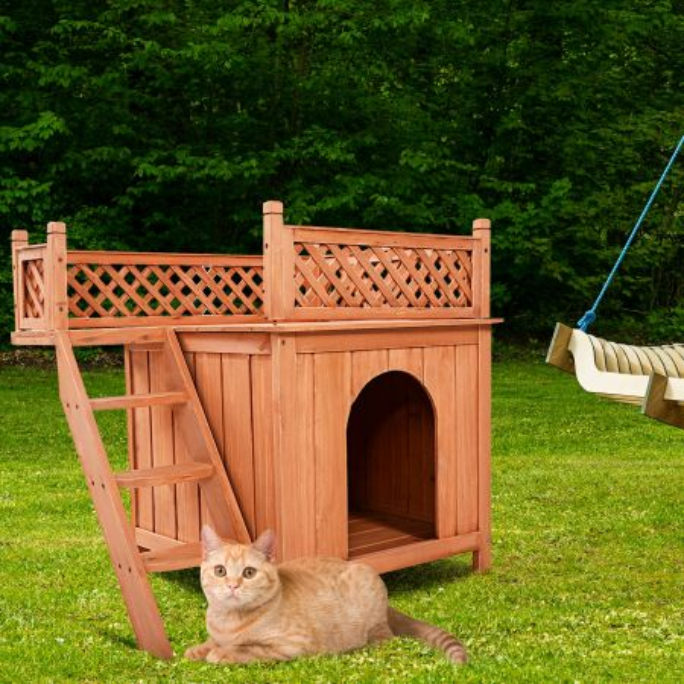 Costway Casita para Perros con Balcón y Escalera Caseta para Mascotas Casa para Conejos Gatos Exterior Natural 66 x 56 x 64 cm