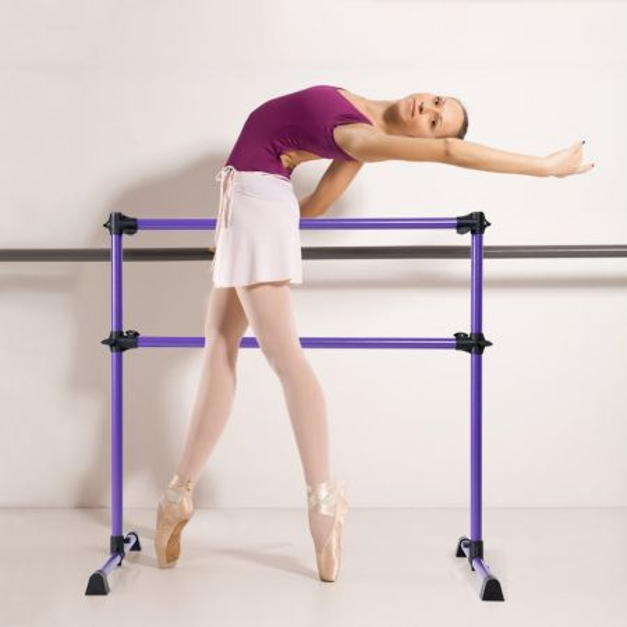Costway Barra de Ballet con Base Antideslizante y Altura Ajustable para Ejercicios de Baile y el Equilibrio Violeta 123 x 70 x 120 cm