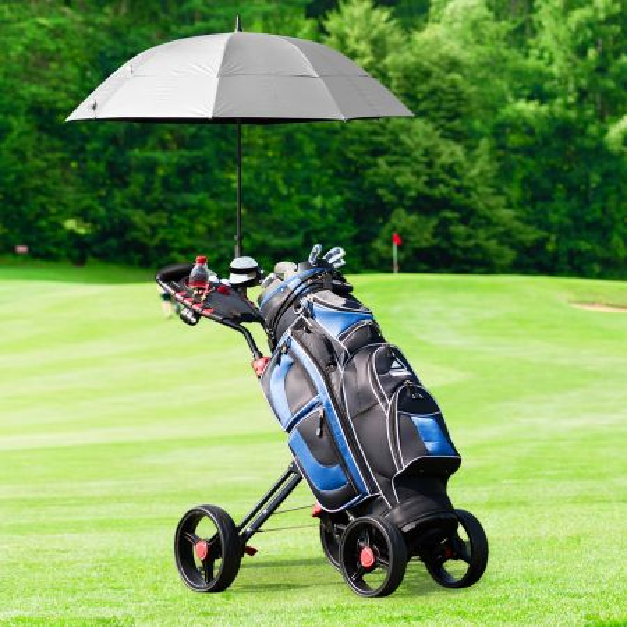 Costway Carro de Golf Plegable con Ruedas Porta Vaso Freno de Pedal con Empuñadura Negro y Rojo 107 x 53 x 113 cm