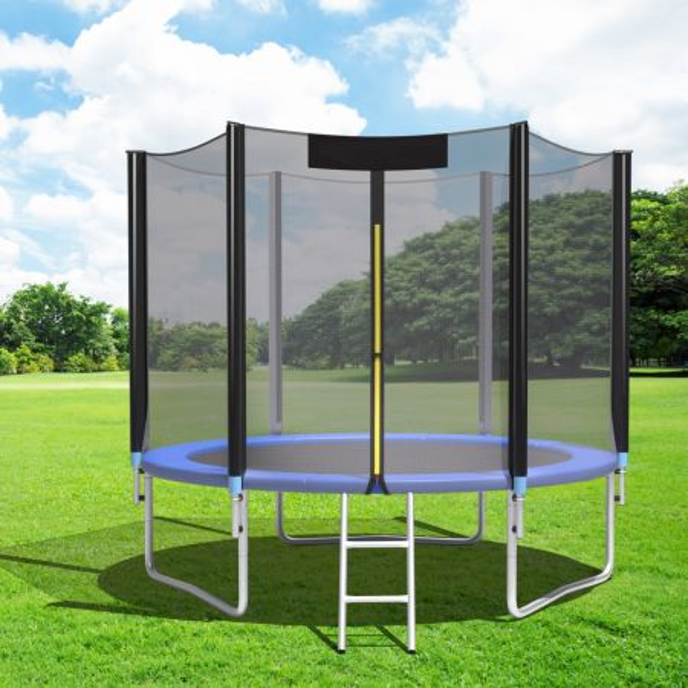 Costway Cama Elástica Azul y Negro 244 x 220 cm con Almohadillas Muelles y Escalera para Niños y Adultos Exterior