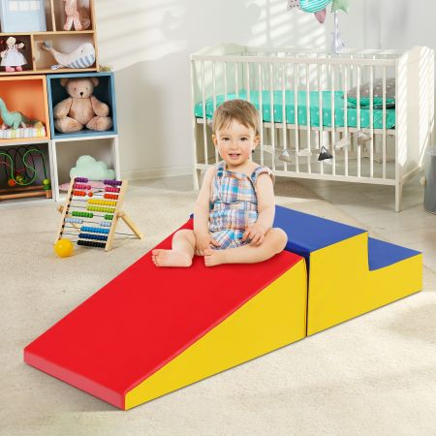 Costway Set Actividad para Escalar y Gatear en Espuma Blanda Excelente para Niños Azul Rojo y Amarillo 50 x 50 x 26 cm