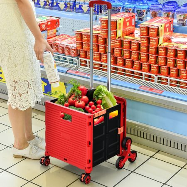 Costway Carro de la Compra Plegable con Mango Regulable y Ruedas Delanteras Giratorias a 360° con Freno Rojo 48 x 49,5 x 105,5 cm